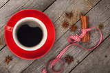 Red coffee cup and spices