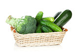 Green vegetables in basket