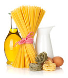 Pasta with eggs, olive oil and milk