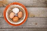 Eggs nest on plate