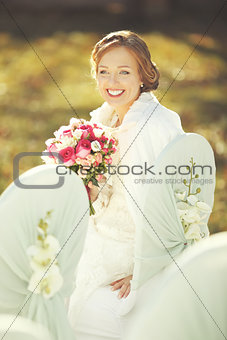 Wedding sunny picture of happy bride