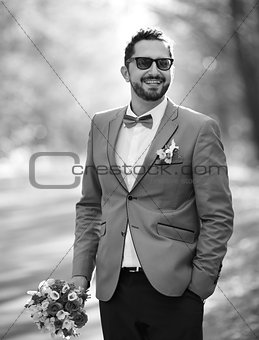 Groom on wedding day.