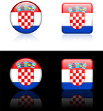 Croatia Flag Buttons on White and Black Background