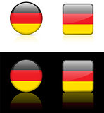 Germany Flag Buttons on White and Black Background