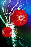 Holiday Ornaments on Abstract Modern Light Background