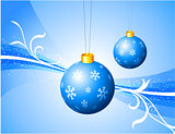 Blue Ornaments on Abstract Holiday Background
