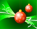 Red Christmas Ornaments on Green Background