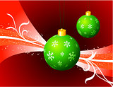 Christmas Ornaments on Red Holiday Background