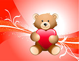 Teddy Bear and Red Background