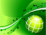Green Globe on Green Background