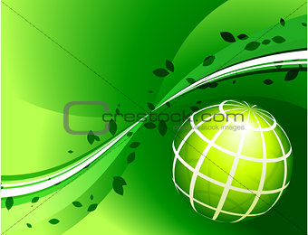 Green Globe on Green Background