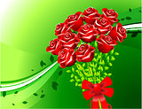 Roses on Green Background