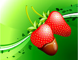 Strawberry on Green Background