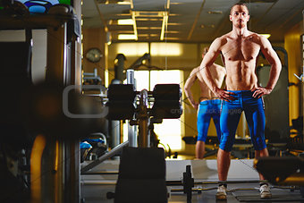 Topless man