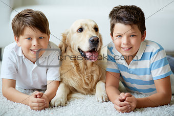 Boys with dog