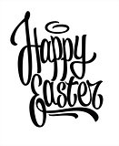 Happy easter hand drawn lettering. Vector