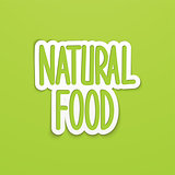 Natural food hand written lettering calligraphy. Vector