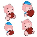 pig baby cartoon heart set