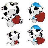 cow baby cartoon heart set