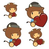 bull baby cartoon heart set