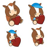 horse baby cartoon heart set