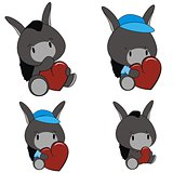 donkey baby cartoon heart set