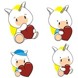 unicorn baby cartoon heart set