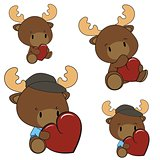 reindeer baby cartoon heart set