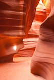 Focused Beam Sunlight Reaches Floor Antelope Canyon Arizona Sout