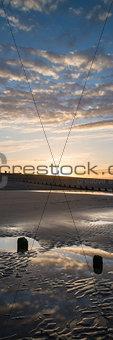 Beautiful sunrise vertical panorama landscape reflected in pools
