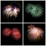 Collection of bright colorful firework burst explosions on black