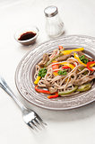 Traditional Japanese buckwheat soba noodles