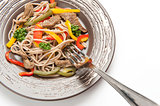 plate of buckwheat noodles