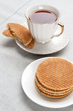 Teatime. waffle and cup of tea