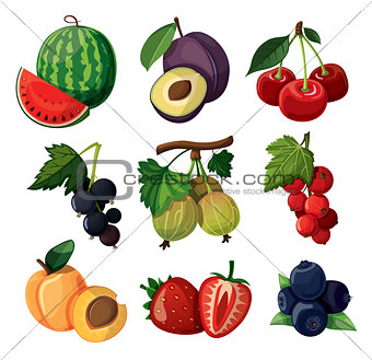 A set of delicious berries. Isolated on white background