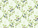 Tiled pattern with blueberry bushes