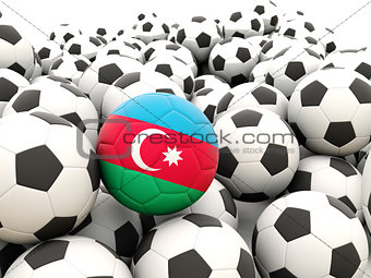 Football with flag of azerbaijan
