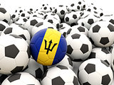 Football with flag of barbados