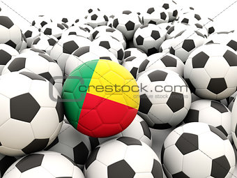 Football with flag of benin
