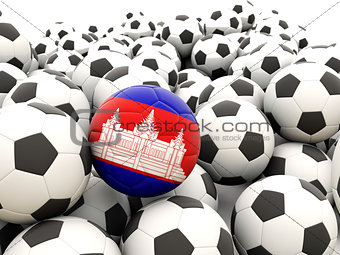 Football with flag of cambodia