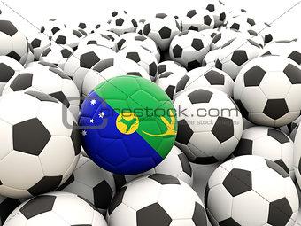 Football with flag of christmas island