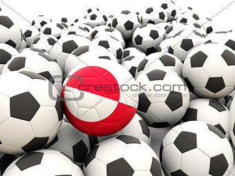 Football with flag of greenland