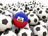 Football with flag of haiti