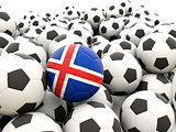 Football with flag of iceland
