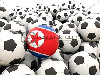 Football with flag of north korea