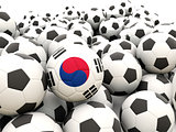 Football with flag of south korea