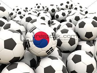 Football with flag of south korea