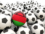 Football with flag of malawi