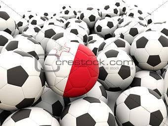 Football with flag of malta