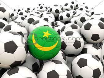 Football with flag of mauritania